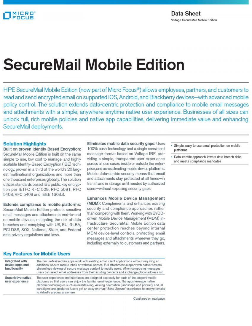 Voltage SecureMail Mobile Edition Data Sheet
