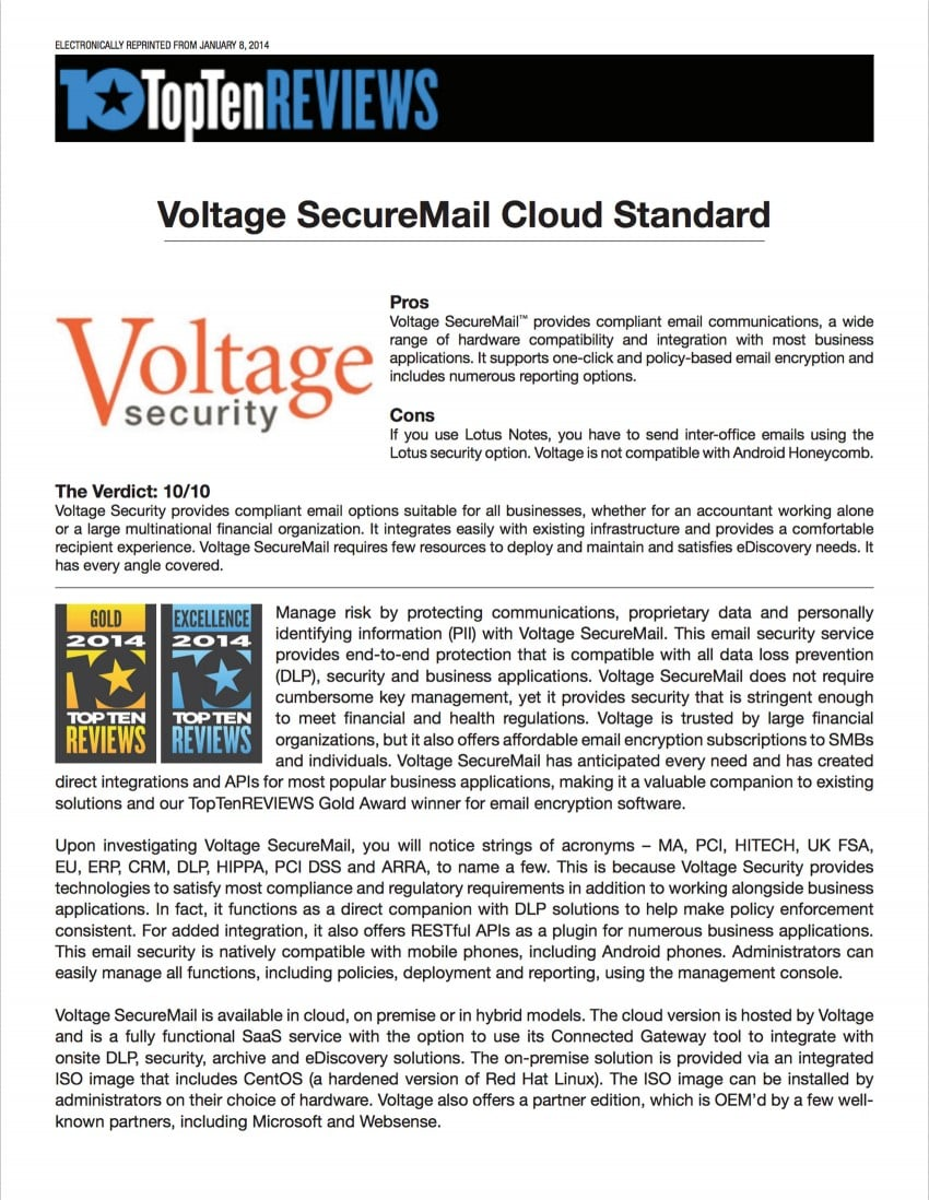 Voltage SecureMail Top 10 Review March 2014