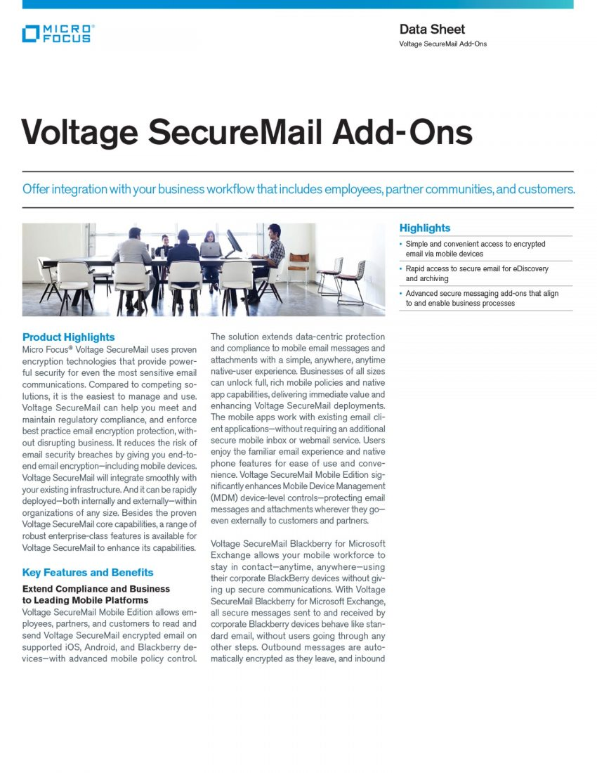 Voltage SecureMail Add-Ons