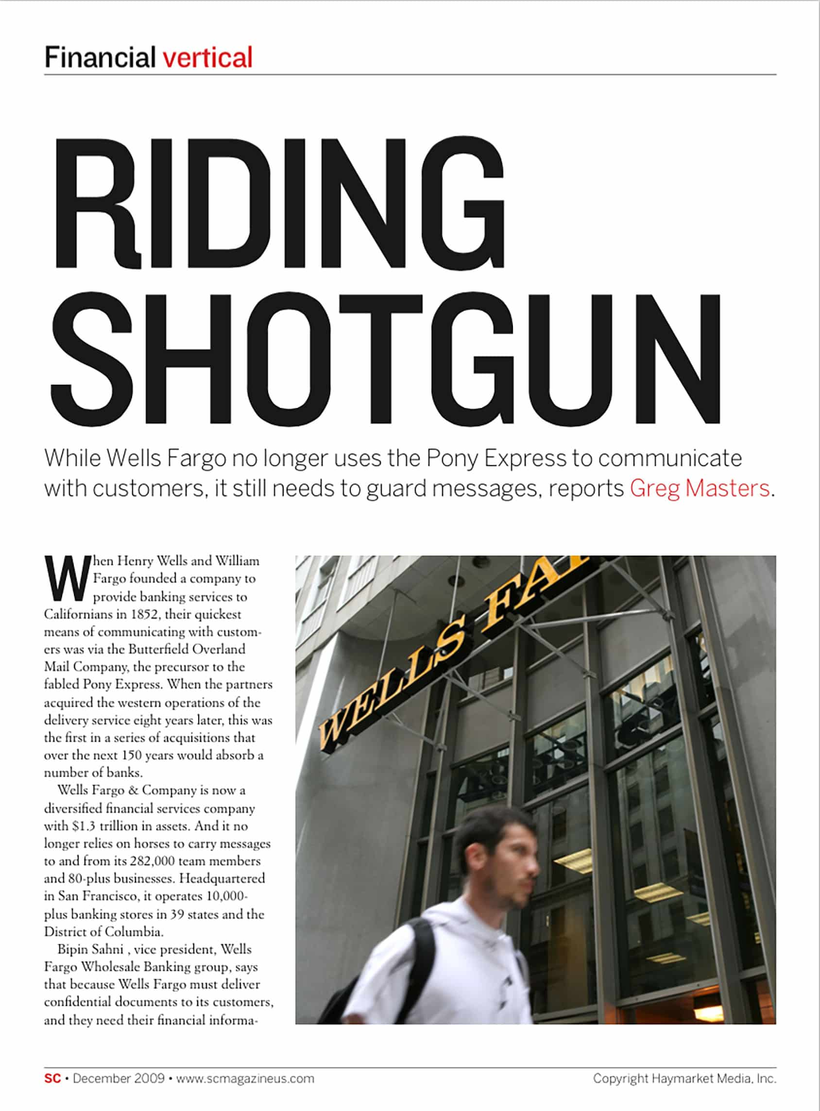"Wells Fargo - SC Magazine ""Riding Shotgun"""
