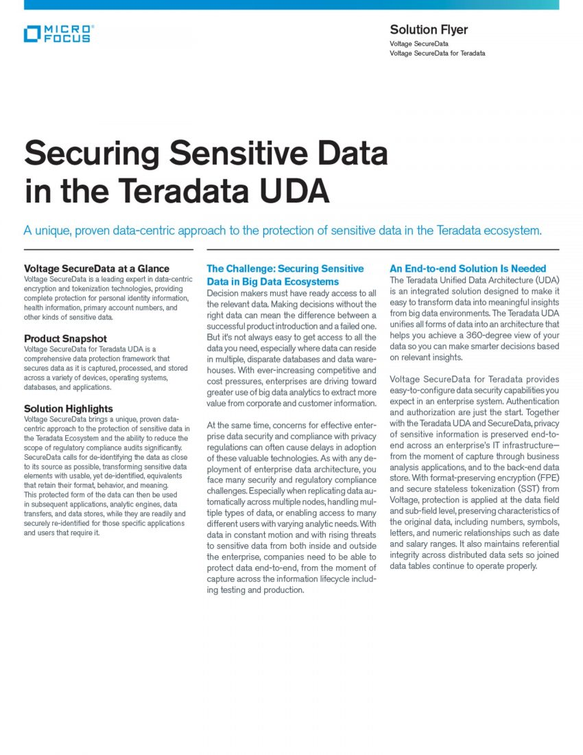 Securing Sensitive Data in the Teradata UDA