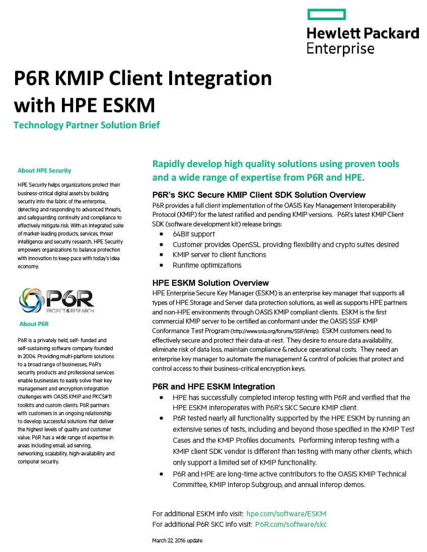 P6R KMIP Client Integration with HPE ESKM