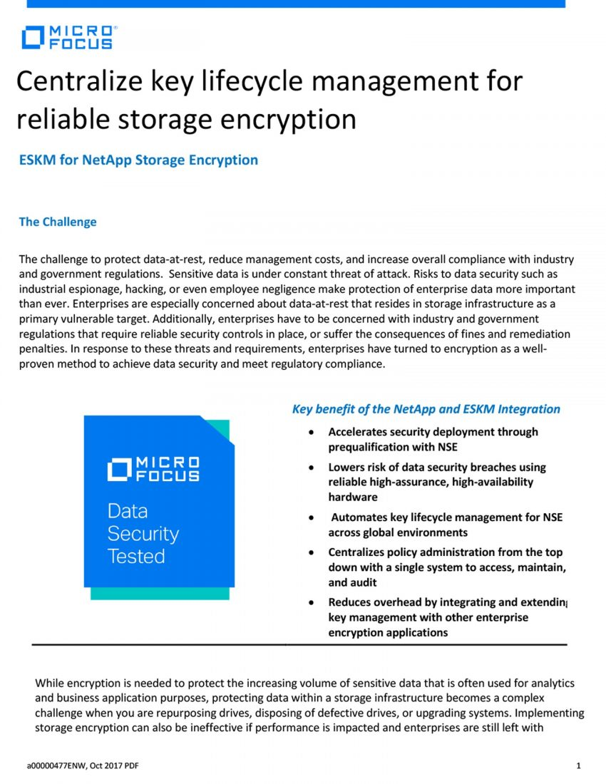 Centralize key lifecycle management for reliable storage encryption