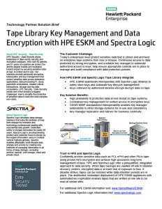 Tape Library Key Management. HPE ESKM and Spectra Logic
