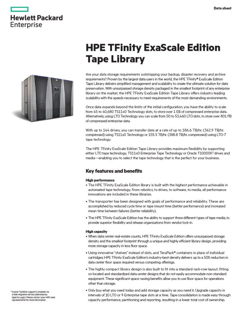 HPE TFinity ExaScale Edition Tape Library